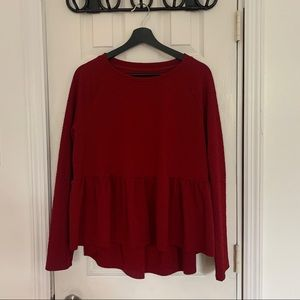 Red Hearts Pattern High Low Long Sleeve Peplum Top